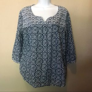 J. Jill Blue Floral Popover Blouse shirt large